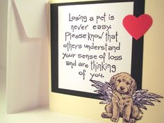 Dog sympathy card for dog death and loss of by SweetandSassyCards by yvette