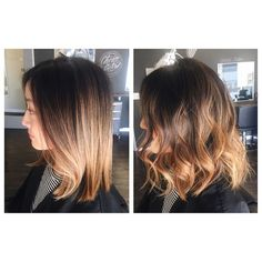 I love how this color melt came out today! She had no color in her hair before and it was all a dark natural brown. Her color will look perfect straight or wavy #audratonghair #haircolor #longbob #ombre #colormelt #salonkingston #blondor