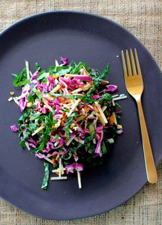 Kale and red cabbage salad with apple and chopped nuts; honey and mustard dressing; from Miss Butterfly