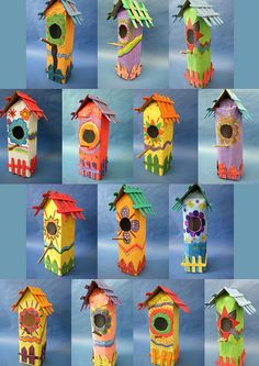 Vogelhuisjes van melkpakken **idea to remember--use milk cartons in the spring to make these birdhouses:) Kids Crafts, Summer Crafts, Arts And Crafts, Paper Crafts, Spring Art, Recycled Art, Recycled Crafts Kids, Elementary Art, Bird Houses