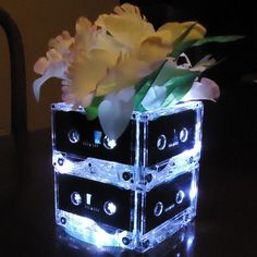 20 Music Themed Wedding Centerpieces Mixtape Cassette Tape Lights Retro Pop 80s 90s Rock n Roll Wedding