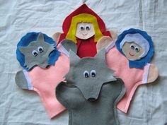 Little red Riding Hood hand Puppets Glove Puppets, Felt Puppets, Felt Finger Puppets, Hand Puppets, Puppet Crafts, Felt Crafts, Little Pigs, Little Red, Traditional Tales