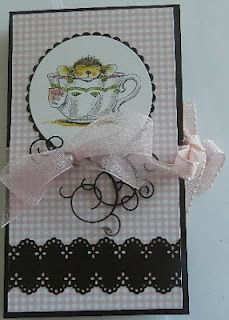 Triple Tea Bag Holder Card  Stamp House Mouse