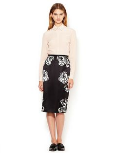 Silk Rose Printed Pencil Skirt by HONOR at Gilt