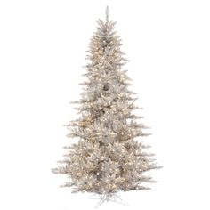 10' Pre-Lit Silver Tinsel Fir Artificial Christmas Tree - Clear Lights -- You can get additional details at…