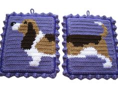 Basset Hound Potholders. Crochet pot holders with basset dog. Dog decor
