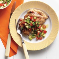 "The season's best veggies shine in a fresh salsa to serve on flavorful grilled chicken -- the perfect dish for an alfresco family dinner. Emeril says, ""Summer never tasted so good!"""