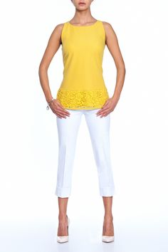 Sunny cotton top with a lace at the bottom and white pants. When you wear this outfit with flat shoes you will make this look more casual. Classic pumps add so much elegance!!   #lemon #blouse #pants #pumps
