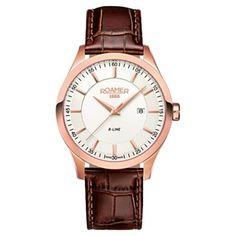 Roamer - Men  s R-line Brown Leather Strap Watch - 943856492509 - c25dcf2587
