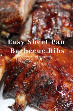 Sheet Pan Barbecue Ribs - oven baked with grilled flavour - - Barbecue pork back ribs baked on a sheet pan. Baked Spare Ribs, Oven Baked Pork Ribs, Ribs Recipe Oven, Barbecue Pork Ribs, Ribs On Grill, Barbecue Recipes, Oven Roasted Ribs, Oven Ribs, Roasted Meat
