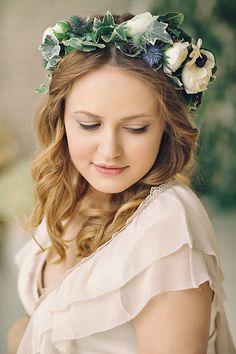 Floral Crown Wedding, Wedding Flowers, Floral Crowns, Wedding Updo, Wedding Hairstyles, Wedding Day, Flower Tiara, Flower Crown, Flower Hair Pieces