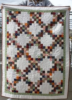 Double Irish Chain with 1840-1880 reproduction fabrics.  Raffle quilt for NNGH