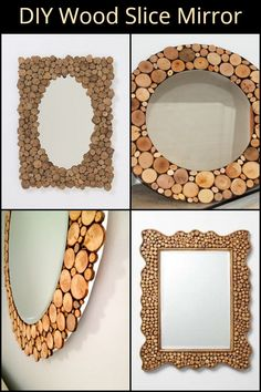 Mirror, mirror on the wall. looking for a weekend DIY project? Then this mirror could be just what you're looking for. Wood Framed Mirror, Mirror Mirror, Log Decor, Unique Mirrors, Upcycled Crafts, Wood Slices, Diy Door, Wooden Crafts, Creative Decor