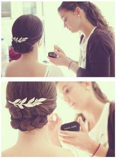 tocado, boda, cabello, novia