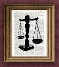 Scales of Justice beautifully upcycled dictionary page book art print 8.5 x 11. $7.99, via Etsy.