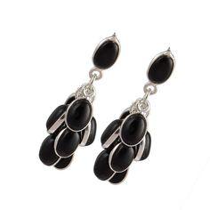 EXCLUSIVE 925 STERLING SILVER 6.18g BLACK ONYX CAB FANCY EARRING JEWELLERY #DSJ #EARRING
