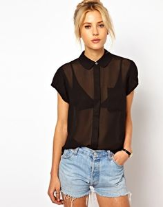 ASOS Blouse With Peterpan Collar And Balloon Sleeve