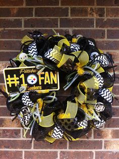 Hey, I found this really awesome Etsy listing at https://www.etsy.com/listing/161268582/pittsburgh-steelers-deco-mesh-wreath