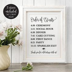 Order of Events Editable Wedding Sign, Rustic Printable Wedding Reception Schedule, Calligraphy Time Reception Order Of Events, Wedding Reception Schedule, Wedding Reception Signs, Rustic Wedding Signs, Wedding Planning Tips, Wedding Vows, Wedding Ideas, Wedding Timeline, Rustic Weddings