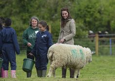 Her Royal Highness was also treated to a visit from a sheep who seemed to be protective over her young