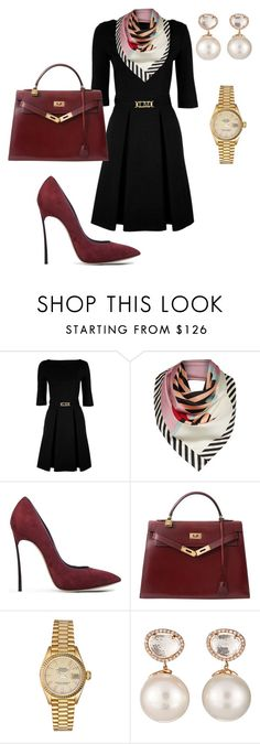 """Simply Elegant"" by kmags4 ❤ liked on Polyvore featuring Love Moschino, Lulu Guinness, Casadei, Hermès, Rolex and Samira 13"