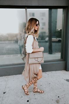 Gray and White Outfit for Fall in LA