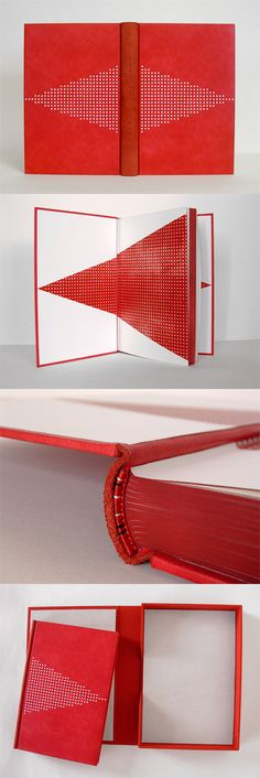 Haein Song - cool red and white hardcover book with geometric triangle pattern and painted page edges