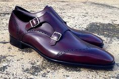 Wine-colored wingtip double monks...gorgeous...