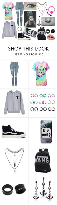 """""""Tye-Dye Punk/Emo/Scene Outfit"""" by abipatterson ❤ liked on Polyvore featuring Topshop, Vans, Ultimate and NOVICA"""