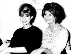 Sophia Loren with Barbra Streisand, 1970's.