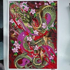 #paint #watercolour #dragon #ryu #sparrow #sakura #cherryblossom #madneedle