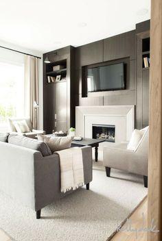 living rooms - hardwood floors, light hardwood floors, beige rug, gray sofa, contemporary gray sofa, taupe armless chair...