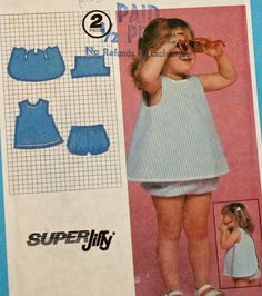 Vintage 1980s Sewing Pattern Simplicity 9531 Toddlers'