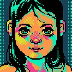 pixel art Pop color girl face human Icarus by corrot piq perler bead design