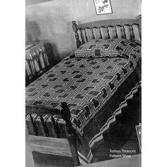 Vintage Log Cabin Crochet Bedspread Pattern with Shell Stitch Border | Todays Treasure Pattern Shop
