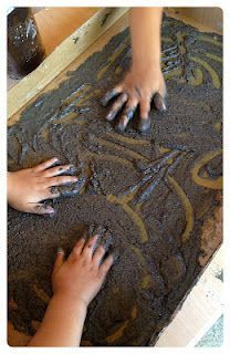 dirt paint! - 1 cup flour, 1 cup salt, 1 cup water, few tbsp black tempera paint and coffee grounds. great for dinosaur unit, plant unit or diary of a worm activities.