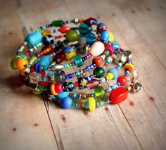 memory wire bracelet eclectic colorful beaded. $12.00, via Etsy.