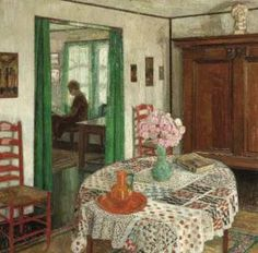 """""""interior"""" by Leon de Smet. Pretty pictures are fine in their place but too many at one sitting is like eating a whole box of Fanny May candy before bed. But what the hell? A totally charming interior, and this time, one that doesn't depend on de Smet's painting technique. With its white walls & bright accents, it's like a Carl Larsson room--without the preciosity."""