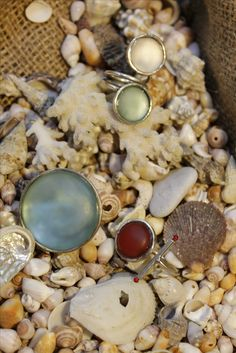 Sea glass rings by Flora Lampadinou...