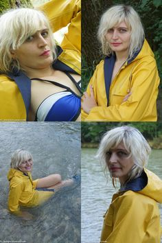 Jana looked forward to receiving and wearing her original rubber Friesennerz the first time. She even enjoyed the typical rubber smell and will for sure wear th Pvc Raincoat, Yellow Raincoat, Rubber Raincoats, Rain Wear, Girls In Love, Girls Wear, Me As A Girlfriend, Girlfriends, Rain Jacket