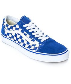 896b3cfef7a03f Vans Old Skool Blue   White Checkered Skate Shoes