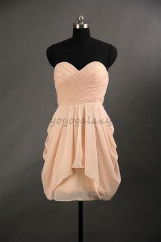 Blush Sweetheart Ruched Side Draped Chiffon Short Prom Dress on Luulla