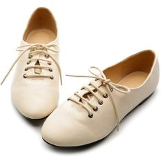 Ollio Womens Oxfords Ballet Flats Loafers Lace Ups Low Heels Multi... ($17) ❤ liked on Polyvore