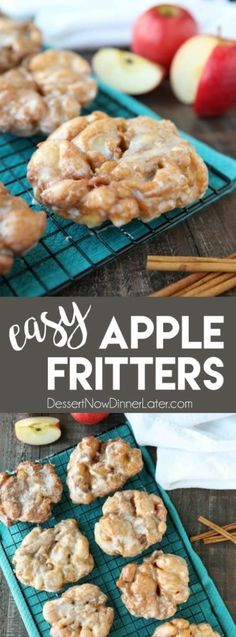 Apple Fritters - an easy and delicious yeast doughnut with chunks of apples, ground cinnamon, and a sweet glaze. Apple Fritters - an easy and delicious yeast doughnut with chunks of apples, ground cinnamon, and a sweet glaze. Mini Desserts, Apple Dessert Recipes, Donut Recipes, Just Desserts, Delicious Desserts, Yummy Food, Easy Recipes For Desserts, Cooking Apple Recipes, Easy Apple Desserts