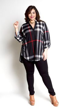 Jessica Kane Plus Size Plaid Top - Black (Sizes 16 - 22)