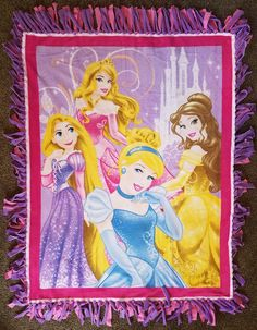 Princesses Timeless Elegance, Rapunzel, Sleeping Beauty, Cinderella, and Belle Fleece Tie Baby, Toddler, or Children's Blanket by BetsysItsyEtsy on Etsy