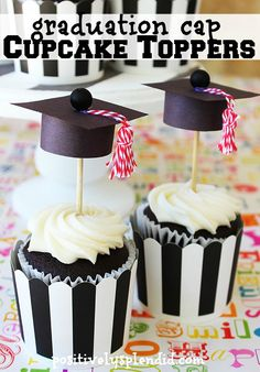 Adorable DIY graduation cap cupcake toppers turn store-bought cupcakes into the perfect party treat! #givebakery