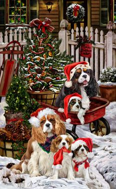 Cavalier King Charles Spaniel Welcoming Committee Christmas card -  by Margaret Sweeney