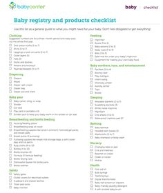 Baby Registry Checklist. I will definitely have a copy of this on hand when I do my baby registry.