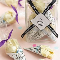 White Chocolate Mini Fish and Chips Individual Cone Favors